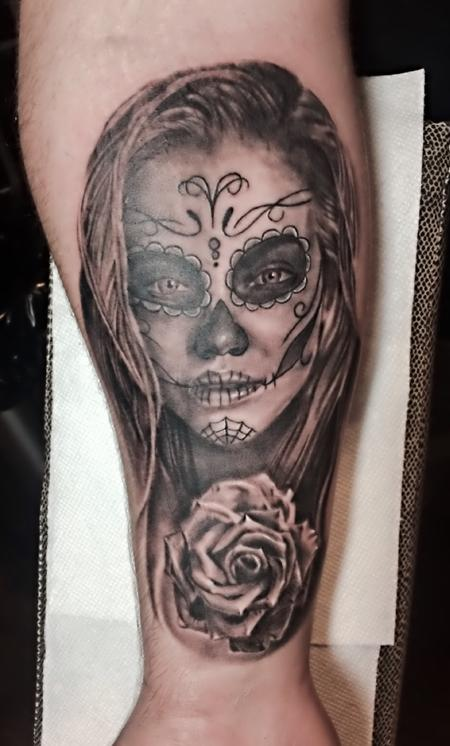 Tattoos - Day Of The Dead Girl and Rose - 126441